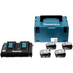 PACK 4 BATTERIES MAKITA 6AH 18V + CHARGEUR DOUBLE 198091-4